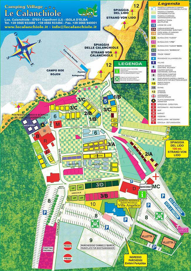 Elba Karte.Die Karte Des Campingplatzes Camping Village Le Calanchiole